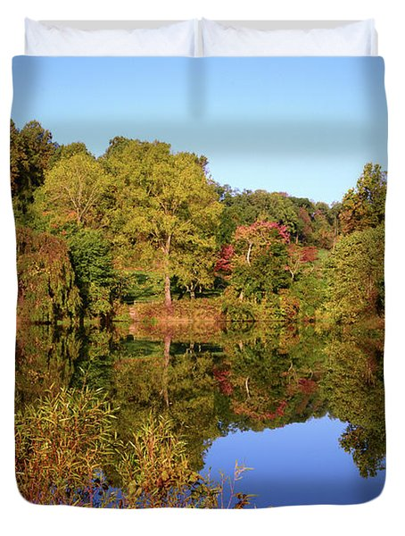 Duvet Cover featuring the photograph Autumn Reflection by Angie Tirado