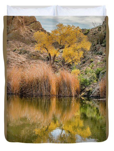 Autumn Reflection At Boyce Thompson Arboretum Duvet Cover