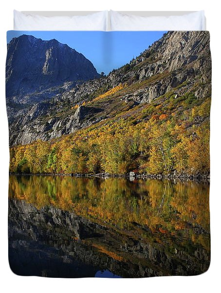 Autumn Reflection At Silver Lake In The Eastern Sierras In Californa Duvet Cover