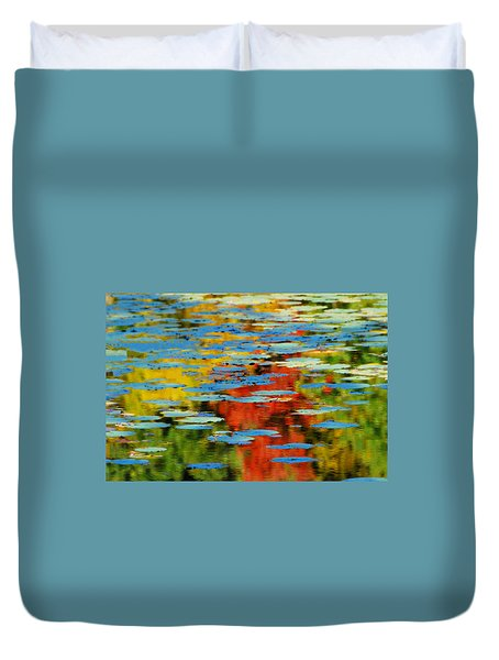 Duvet Cover featuring the photograph Autumn Lily Pads by Diana Angstadt