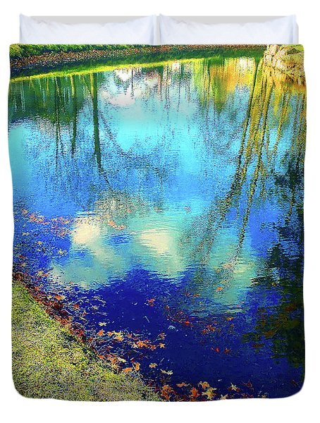 Autumn Reflection Pond Duvet Cover