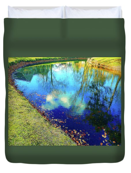 Autumn Reflection Pond Duvet Cover