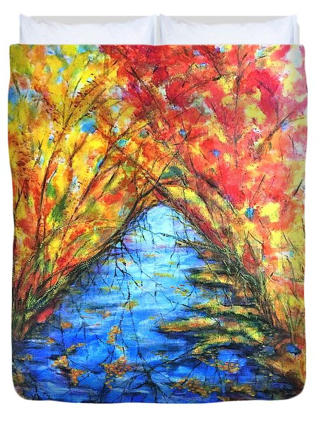 Duvet Cover featuring the painting Autumn Reflections 2 by Rae Chichilnitsky