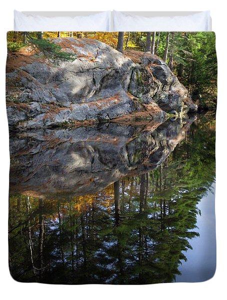 Autumn Reflections At Runaround Pond In Durham Maine  -20224 Duvet Cover