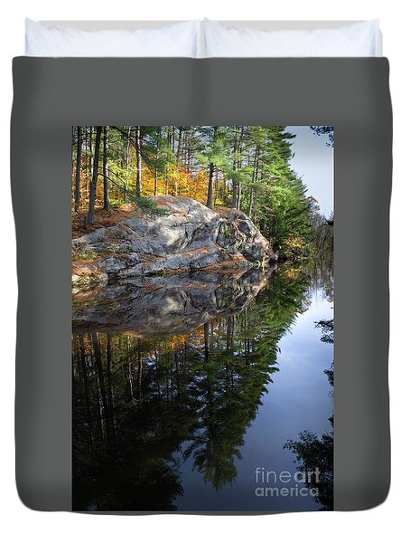Autumn Reflections At Runaround Pond In Durham Maine  -20224 Duvet Cover