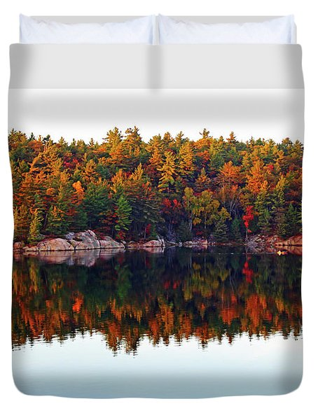 Duvet Cover featuring the photograph   Autumn Reflections by Debbie Oppermann
