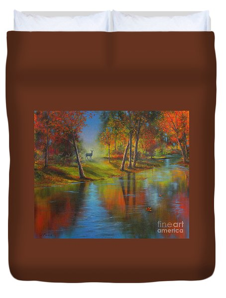 Duvet Cover featuring the painting Autumn Reflections by Jeanette French
