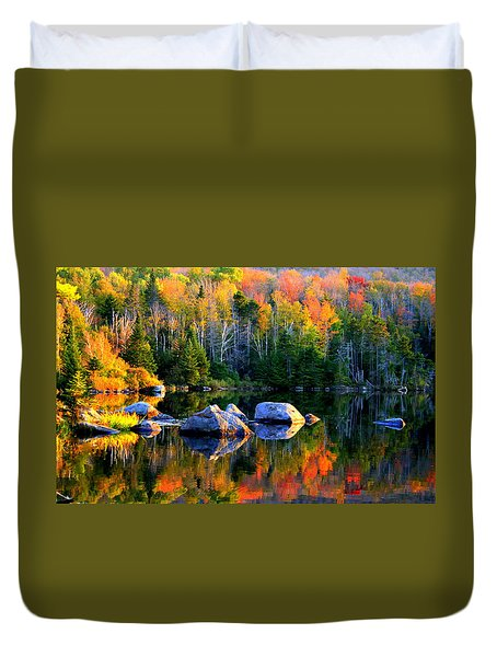 'autumn Reflections - Noyes Pond' Duvet Cover