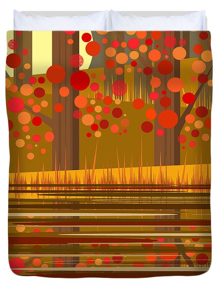 Autumn Reflections Duvet Cover by Val Arie