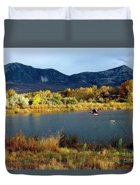 Autumn Rest Stop For Canadian Geese Duvet Cover