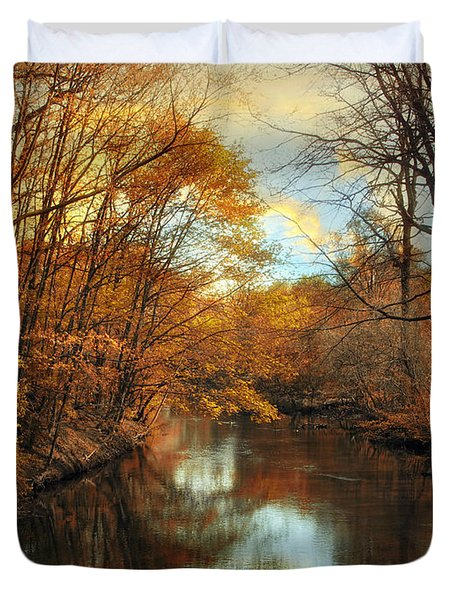 Autumn River Lights Duvet Cover by Jessica Jenney