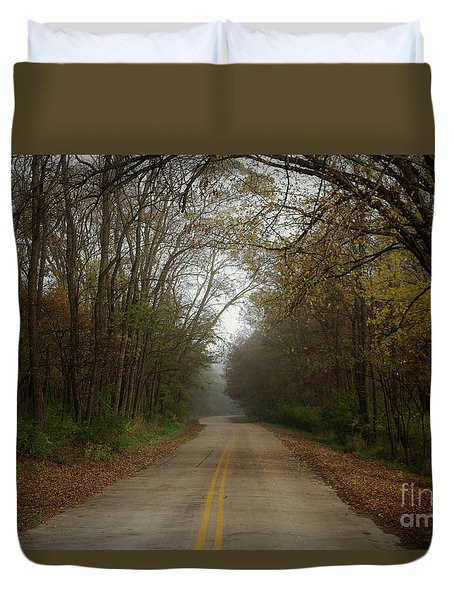 Autumn Road Duvet Cover by Inspired Arts