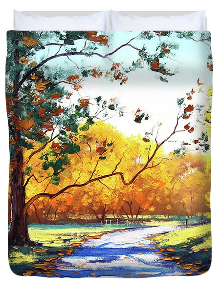 Autumn Road Mt Wilson Duvet Cover