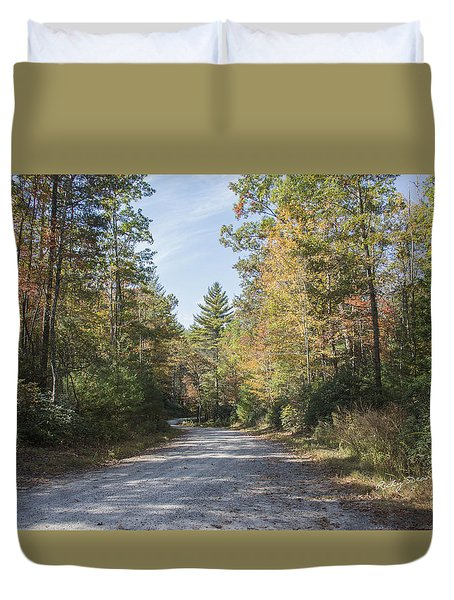 Autumn Road Duvet Cover by Ricky Dean