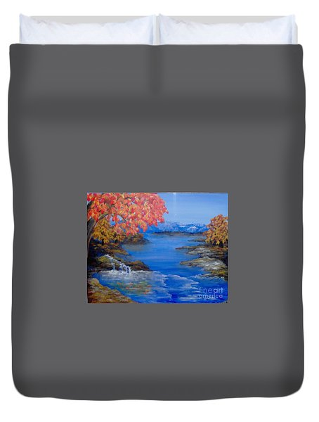 Duvet Cover featuring the painting Autumn by Saundra Johnson