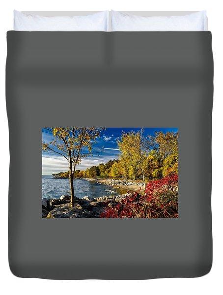 Autumn Scene Lake Ontario Canada Duvet Cover