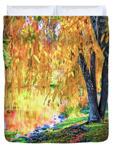 Duvet Cover featuring the photograph Autumn Scenery At The Virginia Tech Duck Pond by Kerri Farley