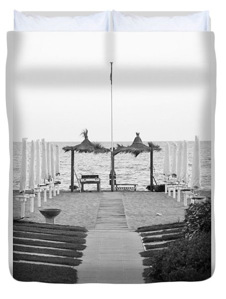 #autumn #seaside #blackandwhiteitalia Duvet Cover