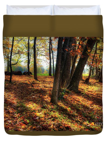 Duvet Cover featuring the photograph Autumn Shadows In The Blue Ridge by Dan Carmichael