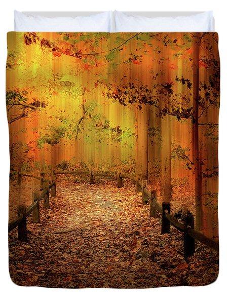 Duvet Cover featuring the photograph Autumn Silkscreen by Jessica Jenney