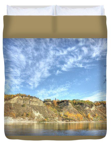 Autumn Sky On The River Duvet Cover