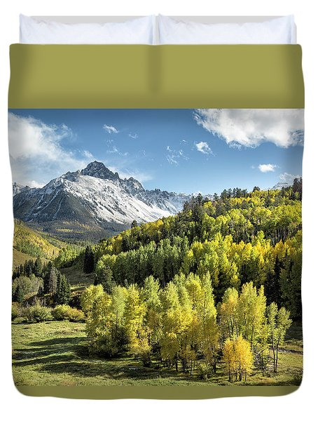 Autumn Snow On Sneffels Duvet Cover