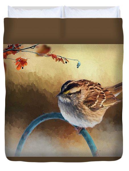 Autumn Sparrow Duvet Cover