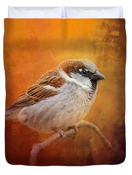 Autumn Sparrow Duvet Cover