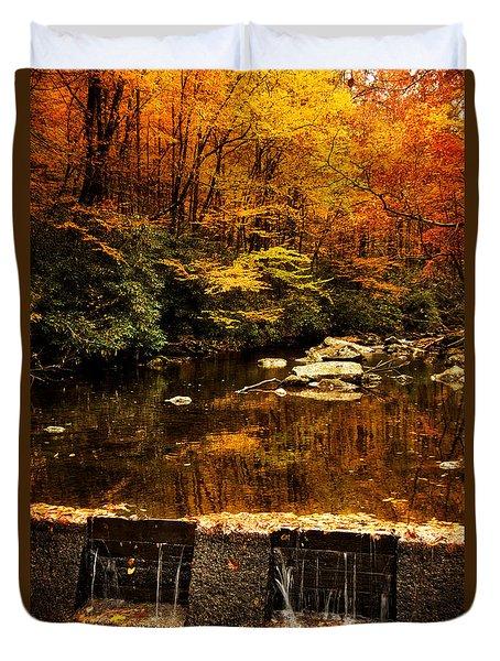 Autumn Spillway Duvet Cover by Greg Mimbs