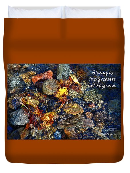 Duvet Cover featuring the drawing Autumn Splash Grace by Diane E Berry
