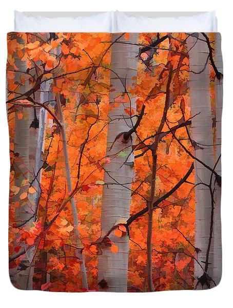 Duvet Cover featuring the photograph Autumn Splendor by Don Schwartz