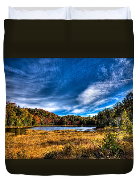 Autumn Splendor On Fly Pond Duvet Cover