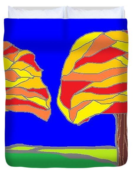 Autumn Stained Glass 1 Duvet Cover