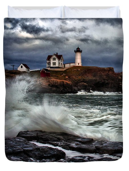 Autumn Storm At Cape Neddick Duvet Cover by Rick Berk