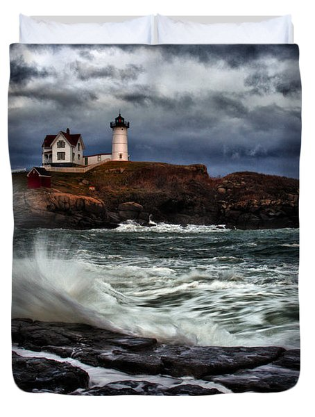 Autumn Storm At Cape Neddick Duvet Cover