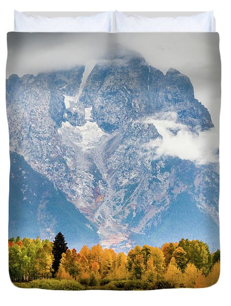 Autumn Storm Over Mount Moran Duvet Cover