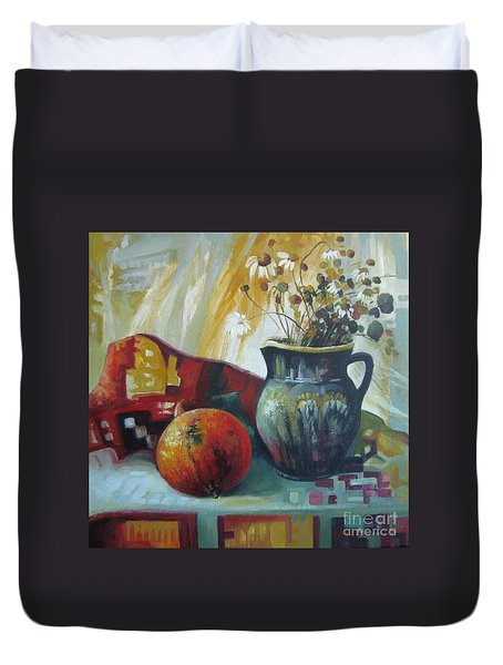 Duvet Cover featuring the painting Autumn Story by Elena Oleniuc