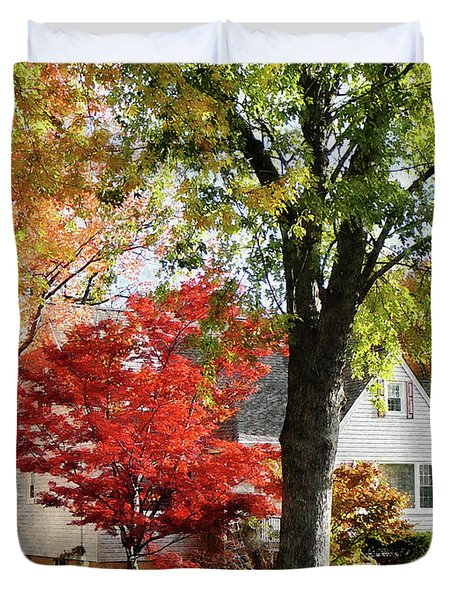 Autumn Street With Red Tree Duvet Cover by Susan Savad