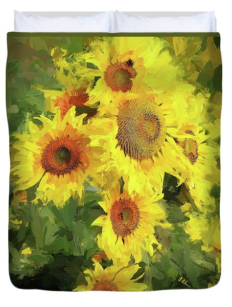 Autumn Sunflowers Duvet Cover by Tina LeCour