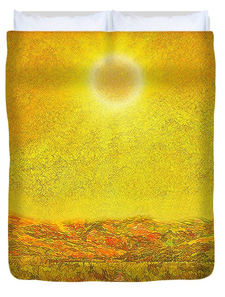 Duvet Cover featuring the digital art Golden Sunlit Path - Marin California by Joel Bruce Wallach