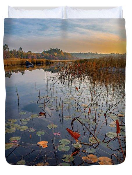 Autumn Sunrise At Compass Pond Duvet Cover