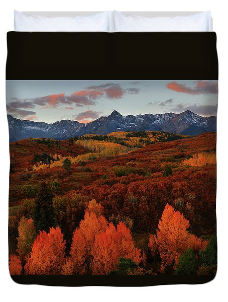 Autumn Sunrise At Dallas Divide In Colorado Duvet Cover by Jetson Nguyen