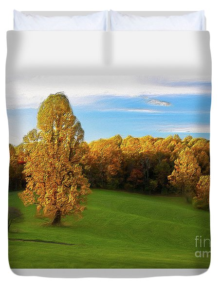 Duvet Cover featuring the painting Autumn Sunrise On A Blue Ridge Meadow Ap by Dan Carmichael
