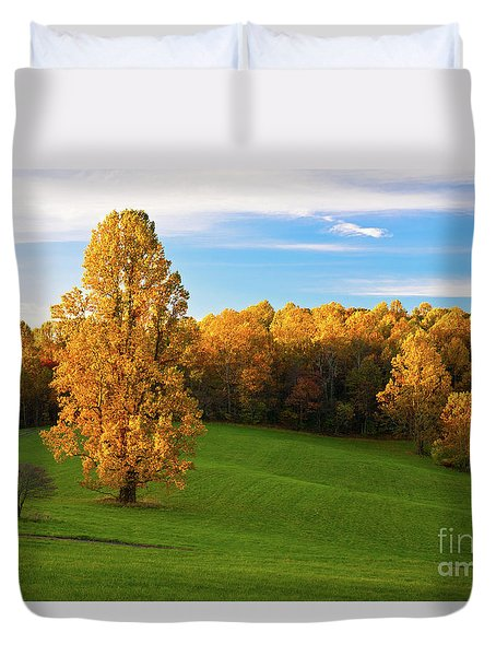 Duvet Cover featuring the photograph Autumn Sunrise On A Blue Ridge Meadow by Dan Carmichael