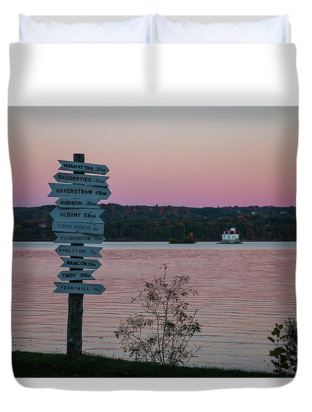 Autumn Sunset At Esopus Meadows Duvet Cover
