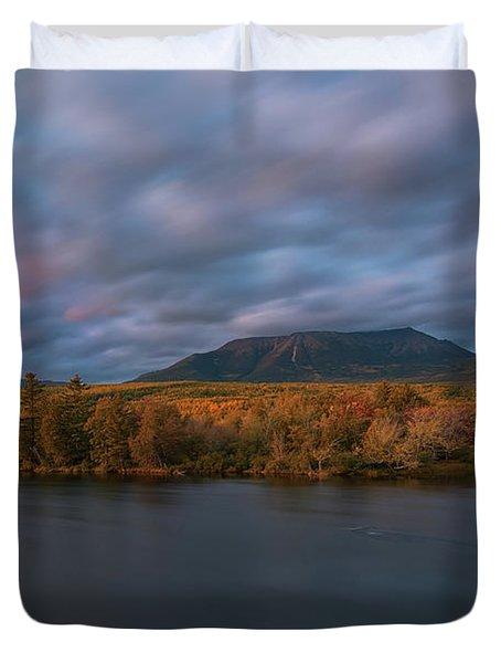 Autumn Sunset At Mount Katahdin Duvet Cover