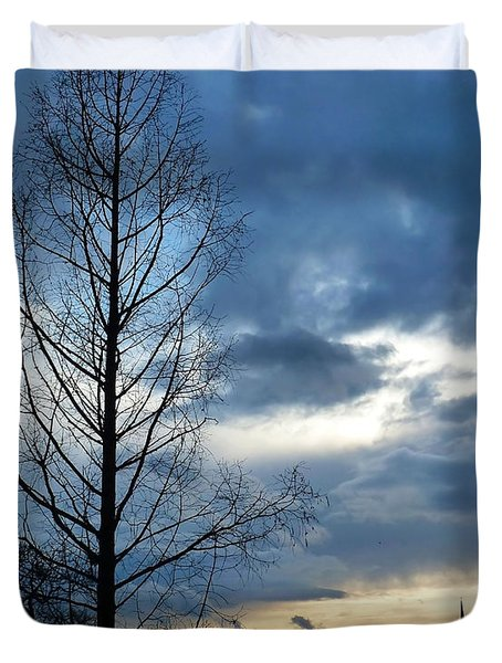 Duvet Cover featuring the photograph Autumn Sunset by Francesca Mackenney