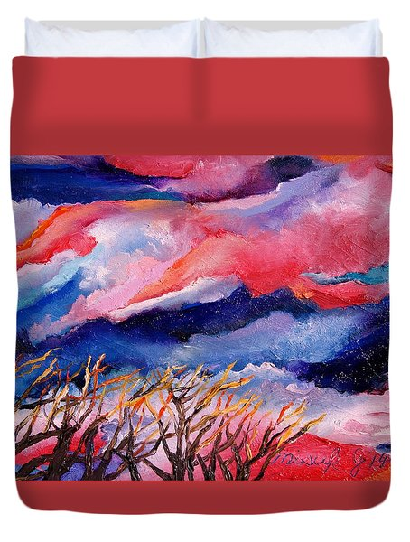 Autumn Sunset In The Sky Duvet Cover