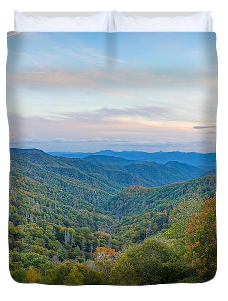Autumn Sunset In The Smokey Mountains Duvet Cover