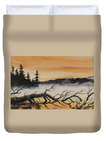 Duvet Cover featuring the painting Autumn Sunset Mist by James Williamson